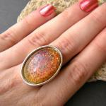 Faux Fire Opal Glass Stone..