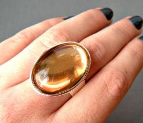 Peach Oval Statement Ring, Vintage Glass Stone, Adjustable, Cocktail Ring, Big Ring, Champagne Ring