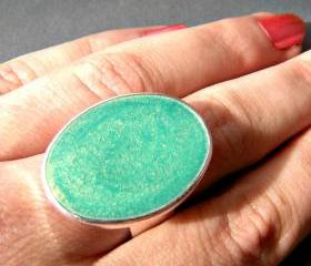 Mint Green Oval Statement Ring, Resin, Adjustable, Cocktail Ring, Big Ring