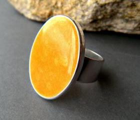 Yellow Oval Statement Ring, Resin, Adjustable, Yellow Cocktail Ring
