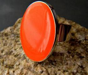 Neon Orange Oval Statement Ring, Resin, Adjustable, Fluorescent Orange Cocktail Ring