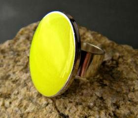 Neon Yellow Oval Statement Ring, Resin, Adjustable, Fluorescent Yellow Cocktail Ring