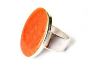 Orange Resin Oval Statement Ring, Adjustable