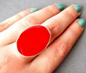 Red Oval Statement Ring, Resin, Adjustable, Cocktail Ring, Big Ring