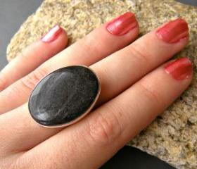 Charcoal Gray Oval Statement Ring, Resin, Adjustable