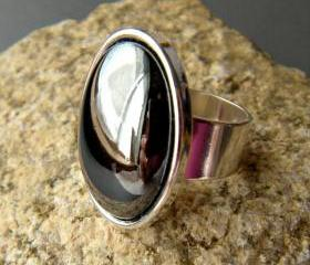 Black, Gray Hematite Gemstone Oval Statement Ring, Reflective, Adjustable