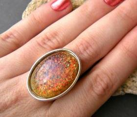Faux Fire Opal Glass Stone, Sparkle Oval Statement Ring, Adjustable, Red, Orange, Purple, Pink