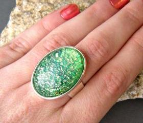 Emerald Green Oval Statement Ring, Sparkle Ring, Metallic Ring, Adjustable